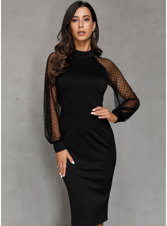Black High Neck Long Sleeves Midi Dresses