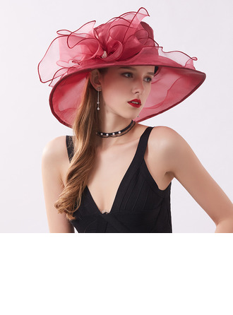 Ladies' Elegant/Nice Organza With Flower Beach/Sun Hats/Kentucky Derby Hats/Tea Party Hats