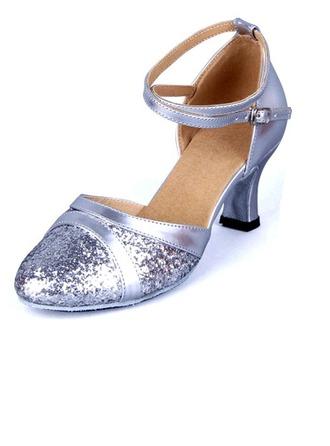 De mujer Cuero Brillo Chispeante Sandalias Sala de Baile con Agujereado Zapatos de danza