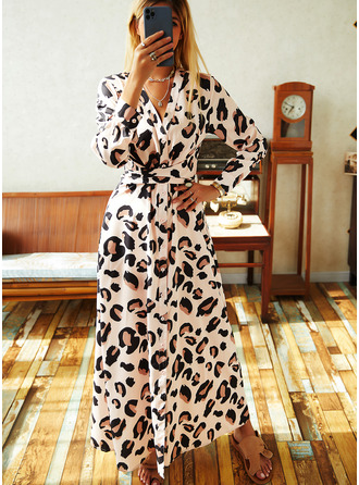 леопард A-линии Длинные рукова Макси элегантный Конькобежец Модные платья