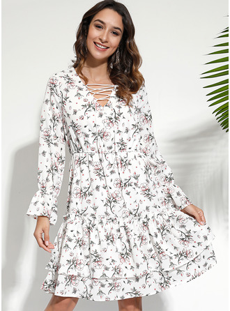 Floral Solid A-line Long Sleeves Mini Casual Elegant Skater Dresses