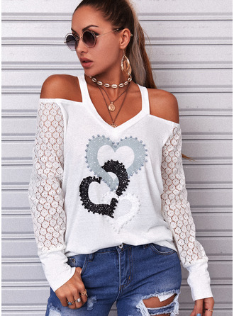 Lace Print Heart Cold Shoulder Long Sleeves Casual Blouses