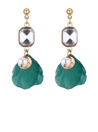 Hermoso Aleación Diamantes de imitación La perla de faux Acrílico con Perlas de imitación Rhinestone De mujer Pendientes de la manera