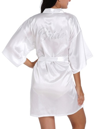 Bride Bridesmaid Satin With Short Satin Robes Rhinestone Robes