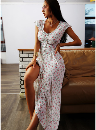 Floral Print A-line Cap Sleeve Midi Casual Vacation Skater Dresses