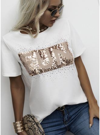 Figure Print Sequins Round Neck Short Sleeves Casual T-shirt