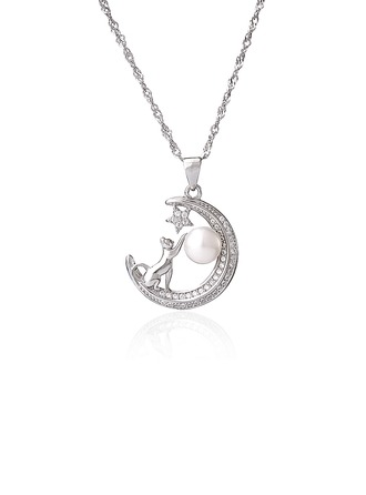 Sterling Silver Moon Star Animal Pearl Necklace