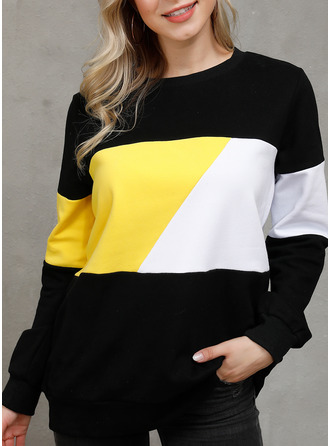 Color Block Patchwork Round Neck Long Sleeves Casual