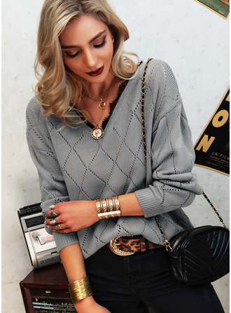 V-Neck Casual Lace Sweaters