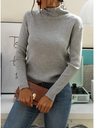 Turtleneck Casual Solid Ribbed Sweaters
