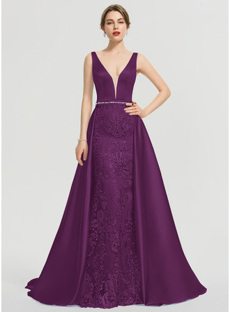 A-Line V-neck Sweep Train Satin Prom Dresses With Beading Sequins