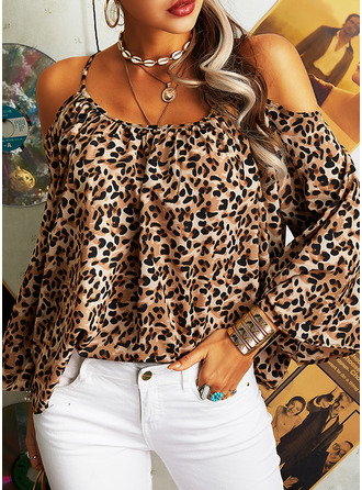 Leopard Cold Shoulder Flare Sleeve Long Sleeves Casual
