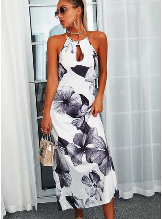 Floral Estampado Vestidos soltos Sem mangas Maxi Casual Vestidos na Moda