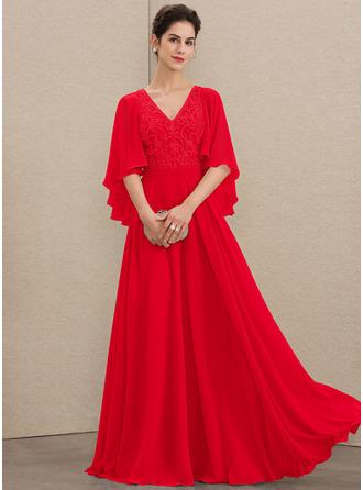 A-Linie V-Ausschnitt Bodenlang Chiffon Spitze Kleid für die Brautmutter mit Perlstickerei Pailletten