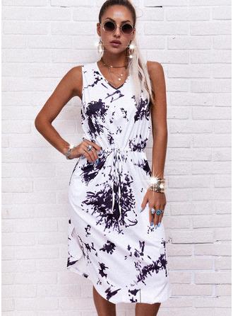 Tie Dye A-line Sleeveless Midi Casual Dresses