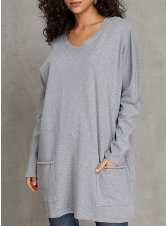 Solid Round Neck Long Sleeves Casual T-shirt