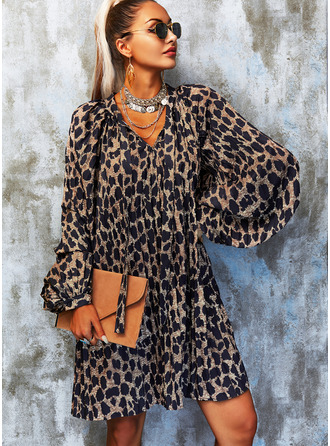 Leopard Shift Long Sleeves Mini Casual Tunic Dresses