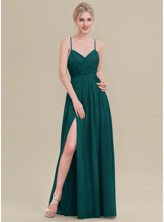 A-Line Sweetheart Floor-Length Chiffon Evening Dress With Ruffle Split Front