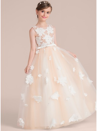 Scoop Neck Floor-Length Tulle Junior Bridesmaid Dress With Flower(s) Bow(s)