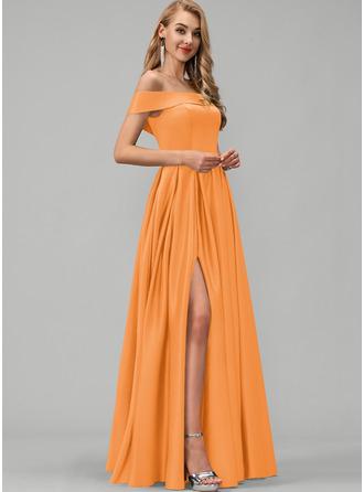 A-Line Off-the-Shoulder Floor-Length Satin Prom Dresses With Split Front Pockets