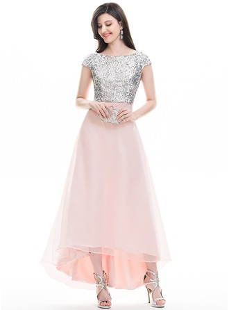 A-Line/Princess Scoop Neck Asymmetrical Organza Prom Dress With Beading