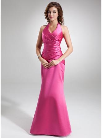 Trumpet/Mermaid Halter Floor-Length Satin Holiday Dress With Ruffle