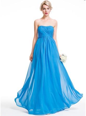 A-Line/Princess Sweetheart Floor-Length Chiffon Bridesmaid Dress With Ruffle