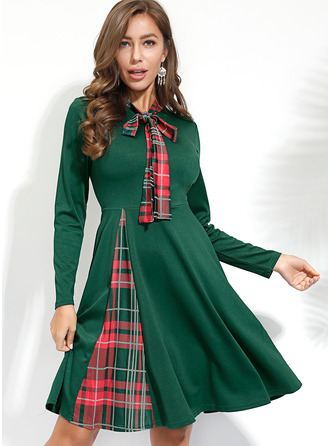 Plaid A-line Long Sleeves Midi Casual Skater Dresses