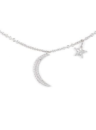 Silber Zirkonia Mond Star Charm Halskette Für die Freundin Für Mädchen