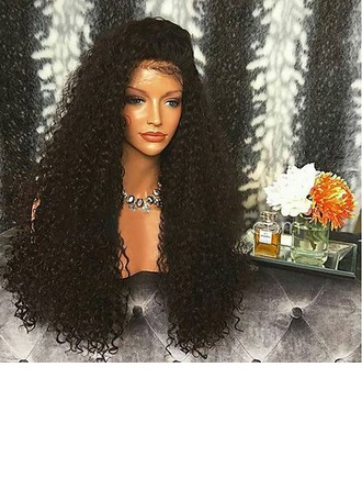 4A Non remy Kinky Curly Human Hair Lace Front Wigs