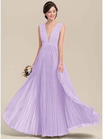 A-Line V-neck Floor-Length Chiffon Bridesmaid Dress With Bow(s) Pleated