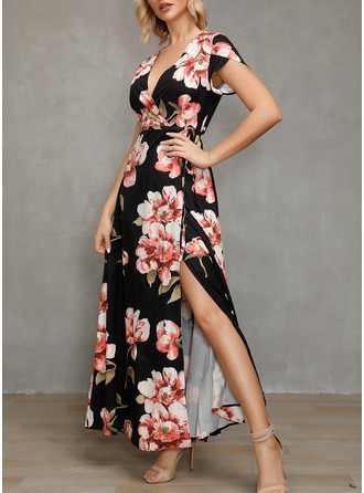 Floral Print A-line Short Sleeves Maxi Casual Vacation Wrap Dresses