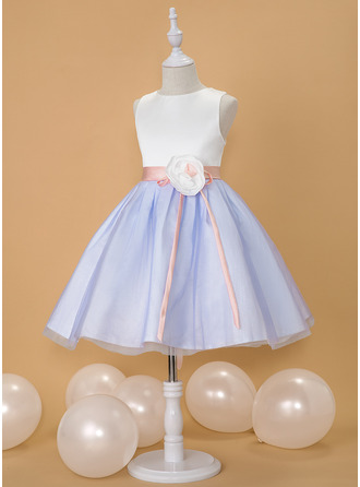 Ball-Gown/Princess Knee-length Flower Girl Dress - Satin/Tulle Sleeveless Scoop Neck With Flower(s) (Detachable sash)