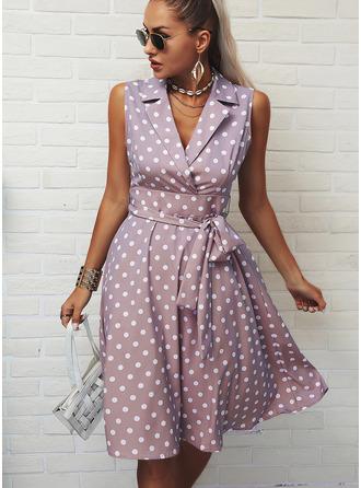 Polkaprik Kjole med A-linje Ærmeløs Midi Elegant skater Mode kjoler