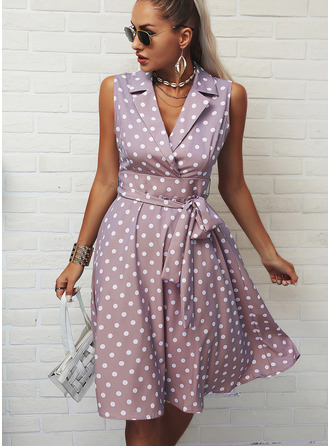 PolkaDot A-line Sleeveless Midi Elegant Skater Dresses
