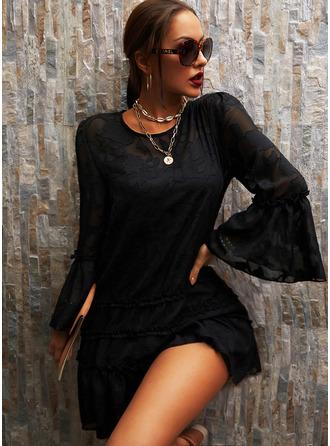 Kant Solide Shiftjurken Flare Mouw Lange Mouwen Mini Zwart jurkje Elegant ()