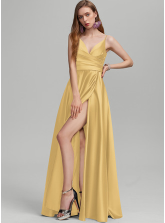 A-Line V-neck Floor-Length Satin Prom Dresses With Ruffle Split Front