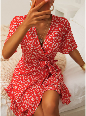 Floral Print A-line Short Sleeves Mini Casual Elegant Skater Wrap Dresses