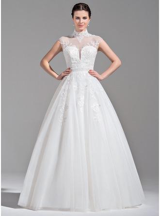 Balklänning hög Hals Golvlång Tyll Bröllopsklänning med Pärlbrodering Applikationer Spetsar Paljetter