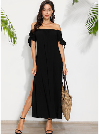 Solid Shift Short Sleeves Maxi Little Black Casual Vacation Dresses