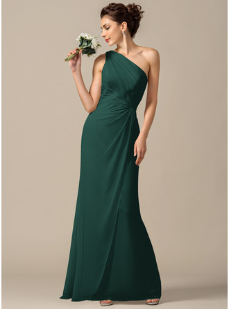 Sheath/Column One-Shoulder Floor-Length Chiffon Bridesmaid Dress With Ruffle