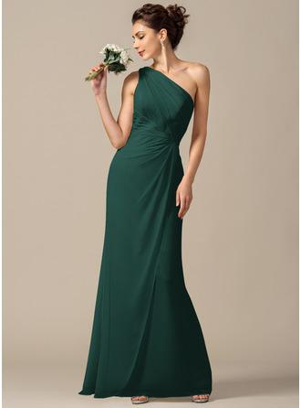 Платье-чехол Одно плечо Длина до пола шифон Платье Подружки Невесты с Рябь
