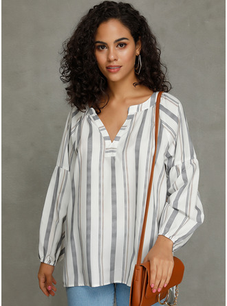 Striped Long Sleeves Polyester V Neck Blouses