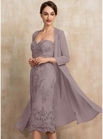 Платье-чехол возлюбленная Длина до колен Кружева Платье Для Матери Невесты