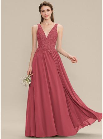 A-Line V-neck Floor-Length Chiffon Lace Prom Dresses