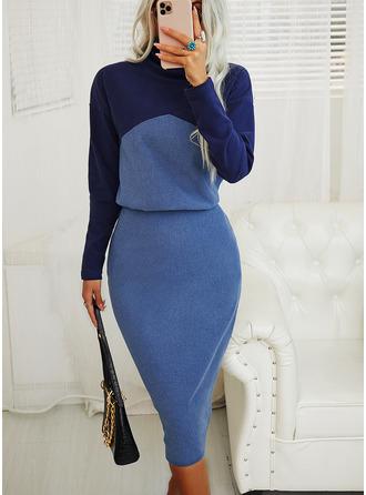 Color Block Åtsittande Långa ärmar Midi Elegant Penna Modeklänningar