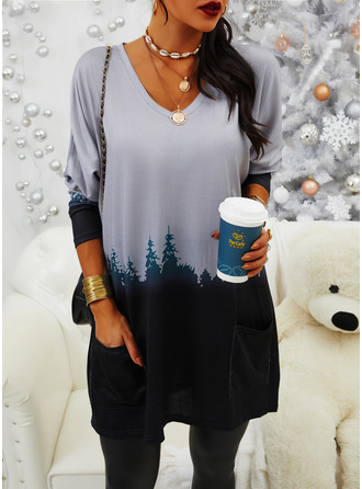 Color Block Print Forest Round Neck Long Sleeves Sweatshirt
