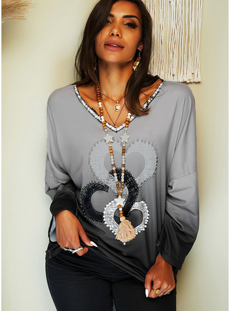Beaded Print Sequins Gradient Heart V-Neck Long Sleeves Casual T-shirt