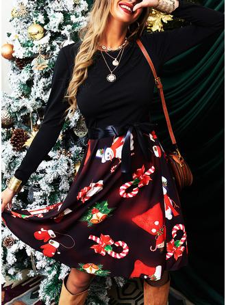 Druck A-Linien-Kleid Lange Ärmel Midi Party Jahrgang Weihnachten Elegant Skater Modekleider