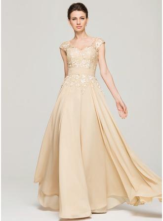 A-Line/Princess V-neck Floor-Length Chiffon Lace Evening Dress